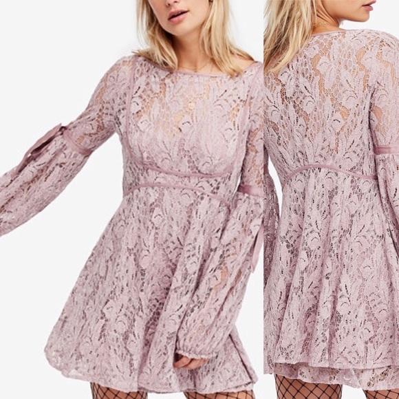 Free People Dresses & Skirts - Mauve Free People Lace illusions Dress